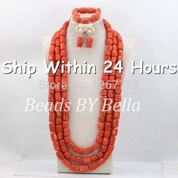 2019 diseños de oro rubí Rojo largo africano perlas de coral conjunto de joyas perlas nigerianas collares collar llamativo joyería africana envío libre ABC421