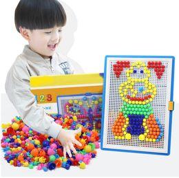 criança imagem quente Desconto Hot 296 pcs Mosaico Imagem Puzzle Brinquedo Crianças Compostas Intelectual Educacional Cogumelo Prego Kit Brinquedos Frete Grátis