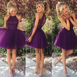 Vestido de fiesta de tul morado online-Una línea Vestidos de Fiesta Púrpura Cortos Rebordear de Tul Plisado Elegante Chicas Vestidos de baile para la Fiesta de Graduación 2018 Nuevo diseño