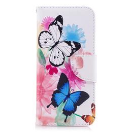 Opciones de telefono online-Dos Mariposa Phone Case Stand PU Leather Cover con Monedero Tarjeta Ranura Money Holder 165 Modelos para Opción