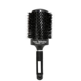Wholesale Brush Hairdresser - New Professional Black Boar Bristle Nano Ceramic Hair Round Brush Hairdressing Curling Brush Hair Blowing Salon Hairdresser Comb