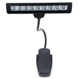 подставка для фортепиано Скидка 9 LEDs LED Reading Lamp Reading Light Desk Clip Lamp for Piano music score stand Black