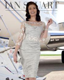 vestido da noiva da mãe do tafetá da forma Desconto Moda Bainha frisada mãe da noiva Vestidos Sheer Bateau pescoço com mangas compridas Wedding Dress Visitante comprimento do joelho vestidos de tafetá