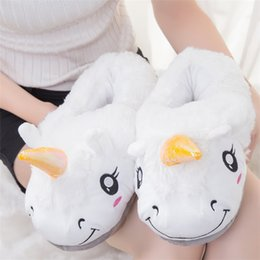Wholesale Pair Cosplay - Cute Unicorn Plush Cotton Indoor Slippers Women Kids Cosplay Xmas Gifts Winter Warm Animal Shoes 2pcs pair T1I241