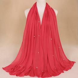 Femmes Mode Châles Châle Nouvelle Musulmane Hijabs Couleur Unie Écharpe Foulards Exquise Faux Perles Cachecol Feminino Plus Taille 90x180 ? partir de fabricateur