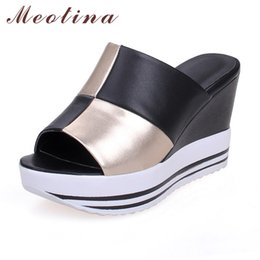 Wholesale wedges size 11 - Meotina Genuine Leather Shoes Women Ladies Slippers Causal Platform Wedges Heels Real Leather Women Slides Large Size 9 10 11 44