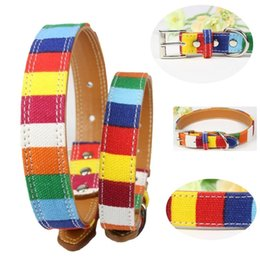 Wholesale wholesale rainbow dog collars - Alloy Buckle Dogs Necklace Canvas Fabric With Leather Simulation Material Pet Dog Ring Rainbow Colorful Fun Dog Collars New 11 5cl4 Z