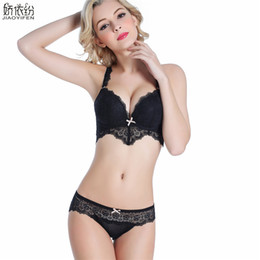 d987bc7666f7e Brand New Europe Women Underwear Sexy Lace Set Hollow Deep V Bra Gather  Together Bra Sets Lace Flower Lingerie Push Up Sets