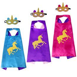 Wholesale Hot Superhero Costumes - Hot Sale Kids Halloween Christmas Clothes Child Stage Performance Costume Play Superhero Unicorn Double-side Capes 70cm*70cm+Masks