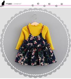 2019 ropa de hip hop para niños al por mayor 2018 Conjunto de vestido de niña de otoño Otoño Camiseta de manga larga + Vestido floral Conjuntos de ropa de bebé Chica de algodón a rayas Ropa de niñas Conjunto