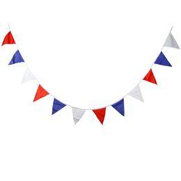Cordon rouge bébé en Ligne-12 drapeaux tricolore bannière de ficelle de coton rouge / blanc / bleu pour enfants parti mariage décors bébé douche décoration fournitures