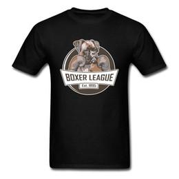 Футболки с хлопком онлайн-Boxer Dog League T Shirt Men Cool Design Faddish T-Shirts 100% Cotton Not Pocket Men's Chibi Great Dane Dog Tshirt For Youth Man