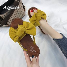 af54ad766 flip flops wholesale bow Coupons - 2018 summer Women flat Slides cozy  Sandals New Korean Wild