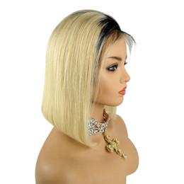 2019 pelucas rubias blanqueadoras Peluca llena del pelo humano del cordón Bob Blonde Color Ombre 613 Pelo virginal brasileño 150% Density Pre arrancó la línea del pelo Peluca delantera del cordón blanqueado Nudos pelucas rubias blanqueadoras baratos