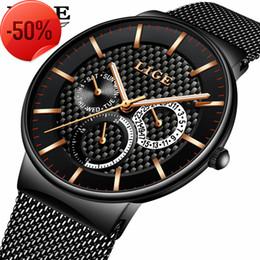 Wholesale Men Slim Watches - LIGE Fashion Mens Watches Top Brand Luxury Quartz Watch Men Casual Slim Mesh Steel Date Waterproof Sport Watch Relogio Masculino