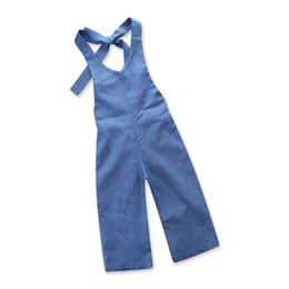 Wholesale Baby Denim Pants - Baby Girls Clothes 2018 Babies Denim Overalls Kids Clothing Fashion Halter Suspender Pants Kids Clothing