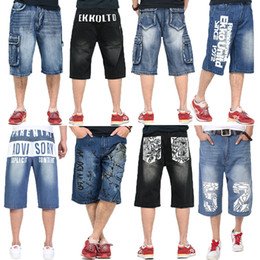 Wholesale Pleated Shorts Men - Casual Summer COOL Mens Jeans Pants Streetwear Hip-hop Loose Baggy Skate Skateboard Style Knee Length Relaxed Fashion Shorts