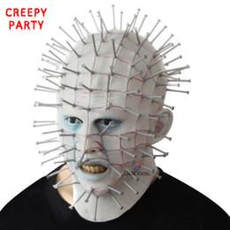 2019 realistische horrormasken Halloween Maske Horror Film Hellraiser Scary Pinhead Masken Grimasse Monster Adult Cosplay Realistische Latex Party Masken günstig realistische horrormasken