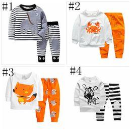 pantalon garcon imprimé zèbre Promotion Kids Designer Clothes Set Garçons Filles Éléphant Broderie À Rayures Hoodies Pantalon Crabe Mignon Fox Zèbre Imprimer Vêtements Tenues YL789