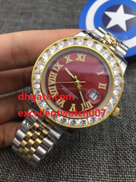 Wholesale Red Diamond Wine - Top High Quality Mechanical Watch 41mm DAY-DATE President Diamond Roman Wine red surface dial Two Tone Gold 225235 Asia 2813 Movement Aut