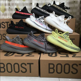 Wholesale White Men Ankle Shoes - With Box Drop Sale Adidas Yeezy Boost 350 V2 Cream White Zebra Black Bred Beluga Women Men Yeezys Shoes 36-46