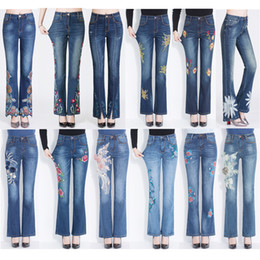 Wholesale floral print skinny jeans - HOT! Good Quality Floral Flared Trousers Beaded Embroidery Printed Designer Jeans Women Slim Stretch Pants for Women Casual Streetwear