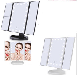 Wholesale Touch Led Table - 3 Folding Touch Screen Makeup Led Light Mirror With Led Light Table Desktop Mirror For Make Up Touch Screen Mirror KKA4092