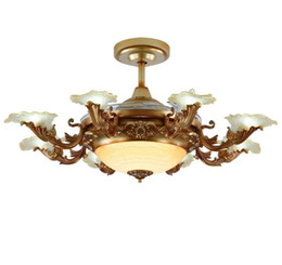 Versenkbare deckenleuchten online-Europäische Moderne LED E14 * 8 Unsichtbare Versenkbare Deckenventilatoren Mit Licht Wohnzimmer Faltende Deckenventilator Lampe Fernbedienung LLFA