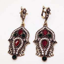 Wholesale Antique Jewelry Earing - Vintage Bohemian Turkish Jewelry Ear Cuff Drop Earring Antique Gold Long Earing Large Wedding Fashion Earrings For Women Brincos Gift
