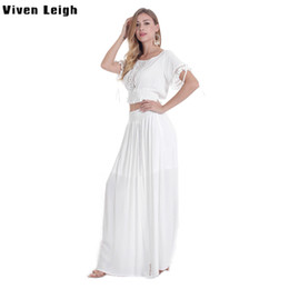 elastic long sleeves t shirt women Promo Codes - Viven Leigh Boho Women Set Sexy Crop Tops Long Skirt EleTwo Pieces Set Short Sleeve Elastic T Shirt 2 Piece Ladies Clothing