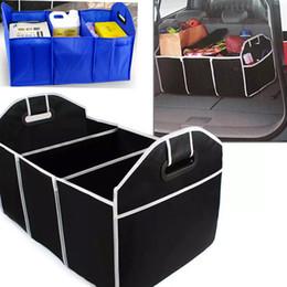 Juguetes de coches azules online-Organizador del maletero del coche Juguetes para el automóvil Bolsas de almacenamiento de alimentos Contenedor Caja Estilo Auto Interior Accesorios Suministros Equipo Negro y azul HH7-472
