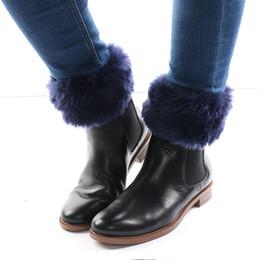 Wholesale Fur Trim Boots - 1Pair Hot Sale Fashion Womens Winter Warm Knit Fur Trim Leg Warmers Boot Socks Cuffs Toppers Button Cover Crochet Socks