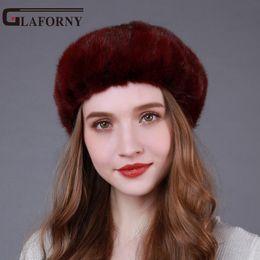 Cappelli di pelliccia genuini online-Glaforny Genuine Whole Hats Donna Moda berretti di pelliccia Solido pelliccia vera moda Tappi di lusso