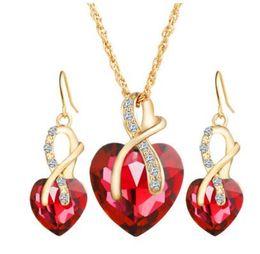 Wholesale gold heart shaped stud earrings - Women's Austria Zircon Crystal Alloy Necklace Earrings Jewelry Set Heart Shape Pendant Stud Earrings Women's Wedding Dinner Jewelry