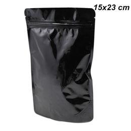 Вставать самостоятельно онлайн-15x23cm черный постоять чистый алюминиевой фольги resealable мешки для орехи сушеные травы самостоятельно закрывающийся Майларовую фольги замка застежка-молнии сухой корм Снэк-мешки