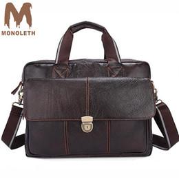 ea90f801063e 2019 кожаные сумочки MONOLETH 2018 новый портфель мужчины из натуральной  кожи портфели сумка мужчины бизнес дорожные
