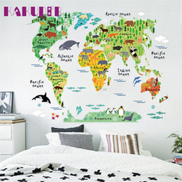 Shop world map murals uk world map murals free delivery to uk kakuder colorful animal world map wall stickers for kids rooms living room home decorations pvc decal mural art diy art poster gumiabroncs Choice Image