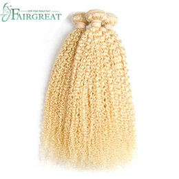 Wholesale Blonde Curly Hair - 613 Blonde Curly Human Hair 3Pcs Lot Brazilian Peruvian Indian Malaysian Blonde Human Hair Weave Unprocessed Top Quality 613 Color Hair