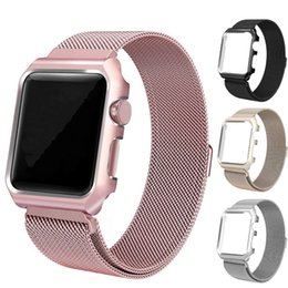 Sangle milanaise iwatch en Ligne-Bracelet milanais en acier inoxydable pour Apple iWatch Bracelet de montre + étui de protection pour Apple Watch série 1 2 3 iWatch 38mm / 42mm
