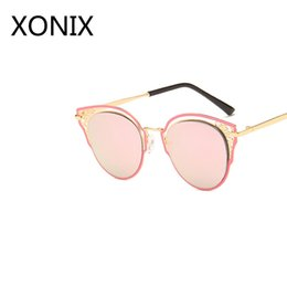3aee2eb1e2 XONIX 2018 New Sunglasses Female Hollow Out Cat Eye Sunglasses Lady Brand  Designer Men Marine Lens Metal UV400
