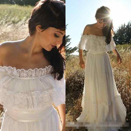 Wholesale ruched trim - 2018 Cheap Vintage Country Bohemian Lace Wedding Dress Off Shoulder Applique Trim Chiffon Full Length Garden Boho Beach Wedding Bridal Gowns
