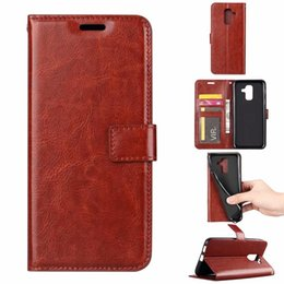 crazy horse brand wallets Promo Codes - Leather Wallet Case For Iphone XS MAX XR Galaxy Note 9 (J3 J7 J8)2018 Sony XZ3 XA2 LG X Power 3 Vintage Crazy Horse Flip Cover ID Card Slot