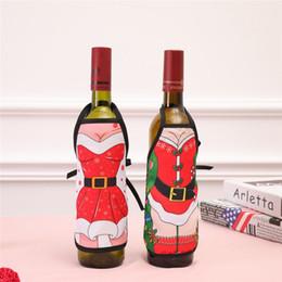 acryl urlaub baum Rabatt Cartoon Mini Weihnachten Weinflasche Schürze Abdeckung Festliche Party Weihnachtsschmuck Drop Shipping