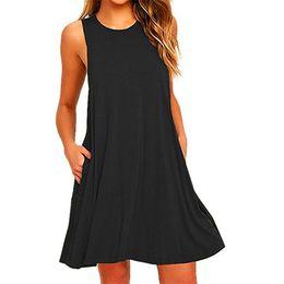 Mini-baumwoll-sommerkleider online-Sommerkleider für Frauen Sleeveless Tasche Mode Kleid Baumwolle Pure Farbe Strand Minikleid Bodycon lässig Swing T-Shirt Kleider