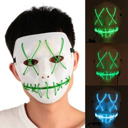 Wholesale Halloween Costumes Blue Men - Cool LED Luminous Glowing Masquerade Mask Halloween Party Decoration Funny Cosplay Costume Horrible Masks for Festival Parties