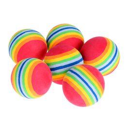 Весовые аксессуары онлайн-6pcs/Lot Rainbow Stripe Golf Balls Light-weight Indoor Practice Sponge EVA Foam Golf Balls Swing Training Aids Accessories