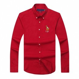 Wholesale High Collar Dress Shirt Men - Horse embroidery mens long sleeve polo shirt luxury brand slim fit mens high quality shirts casual business polo men mens spring clothing 25