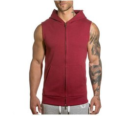 sleeveless zipper hoodie men Promo Codes - Sleeveless Mens Hoodie Wear Coat Fashion Designer Vest Cheaper Cardigan Sport Sweatershirt Tops Clothing Wholesale M-XXL