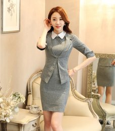 Wholesale Style For Women Working Dress - Spring Summer Ladies Dress Suits for Women Business Suits Formal Office Work Wear Jacket Sets Grey OL Style