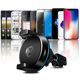 Wholesale Custom Magnetic - New Wireless Car Charger 360 Degree Rotation Magnetic Car Holder Qi Wireless Charger Pad For iphone X plus Samsung S8 Plus Free Shipping
